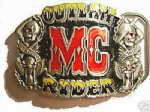 MC OUTLAW RIDER Belt Buckle + display stand. Code AB3